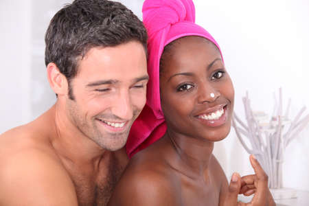 Couple moisturizing photo