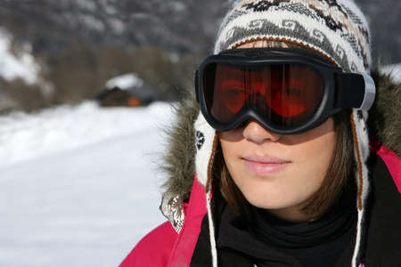 Woman in ski goggles photo