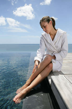mooring: Woman massaging her legs