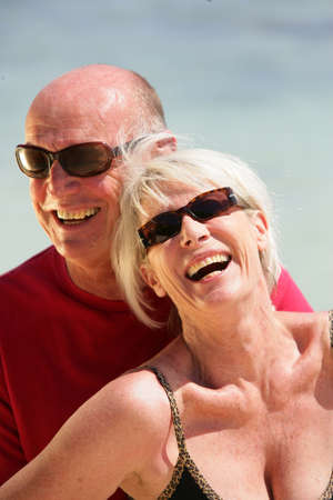 Elderly couple on holiday together photo