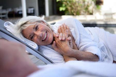 Elderly couple enjoying retirement photo