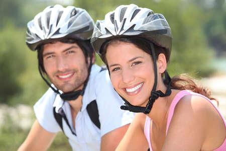 bicycle helmet: Couple with bicycle helmet