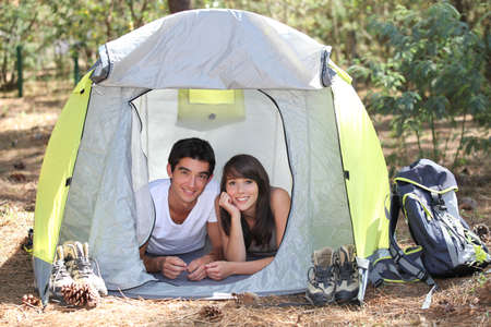 Teenagers camping Stock Photo - 13885136