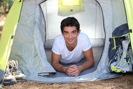 boot camp: Teenager in a tent