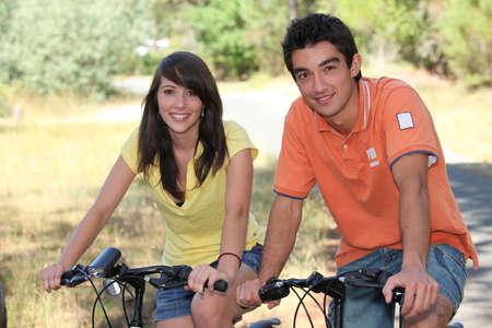 backwoods: teenagers doing bike in forest