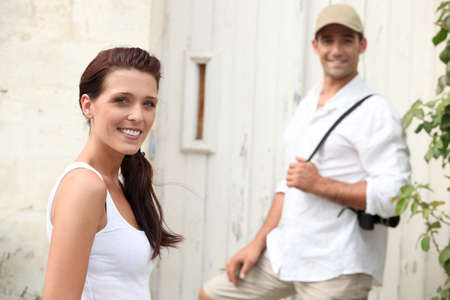 sightsee: Couple touring a village Stock Photo