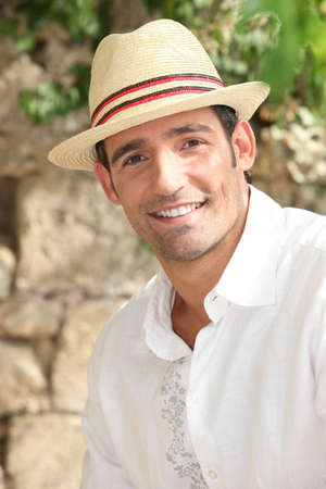 straw hat: Summery man in a straw hat Stock Photo