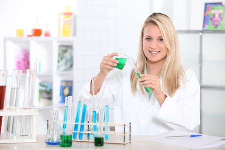blond scientist on lab photo