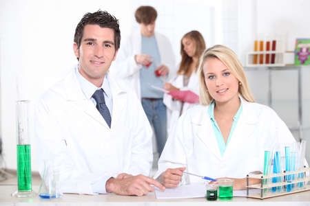 sixth form: Science lesson Stock Photo