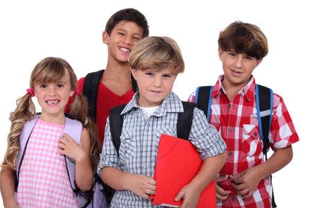 Schoolchildren, studio shot photo
