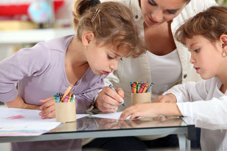 Little girls drawing Stock Photo - 13913945