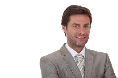 aplomb: Man wearing grey suit Stock Photo