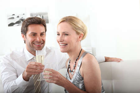 Couple drinking champagne Stock Photo - 13914075