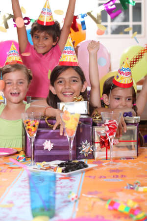 Children at a birthday party photo
