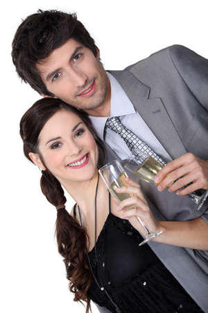 Couple drinking champagne Stock Photo - 13914311