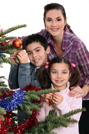 single parent: Family celebrating Christmas together