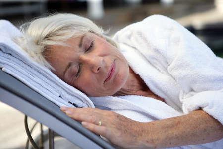 destress: Elderly woman sleeping Stock Photo