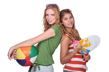 sweet sixteen: Teenagers ready for the beach Stock Photo