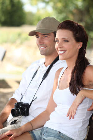 sightsee: Couple of happy tourists Stock Photo