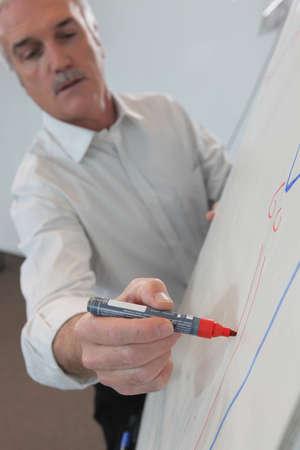 Man drawing on flip-chart photo