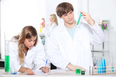 portrait of two students in a lab photo