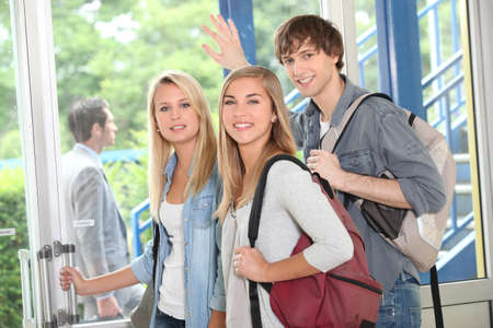leaving: Students leaving Stock Photo