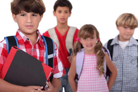 Children with backpacks photo