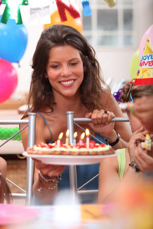 portrait of a woman at birthday party Stock Photo - 13974514