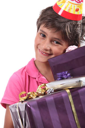 fulfilling: child with birthday gifts