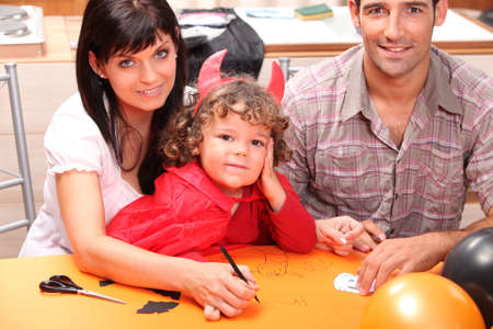 make belief: A family at Halloween Stock Photo