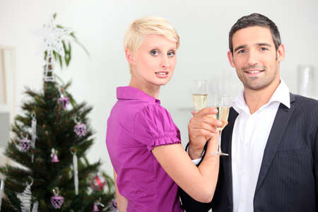 Couple drinking champagne at Christmas Stock Photo - 13959767