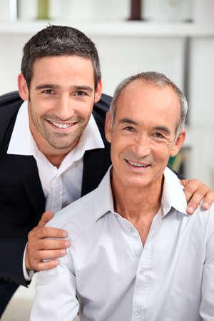 padre e hijo: retrato de padre e hijo Foto de archivo