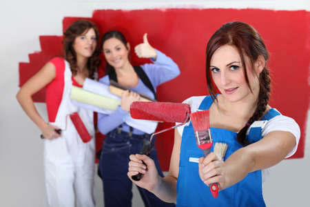 gripping hair: Girls red wall painting