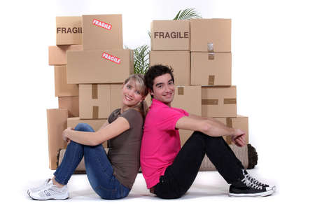 young couple moving together Stock Photo - 13962504