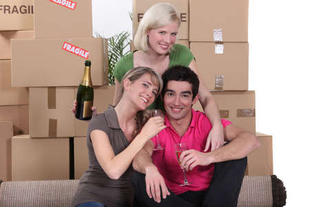 Young people celebrating on moving day Stock Photo - 13962284