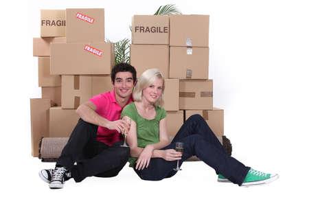 Couple celebrating new house