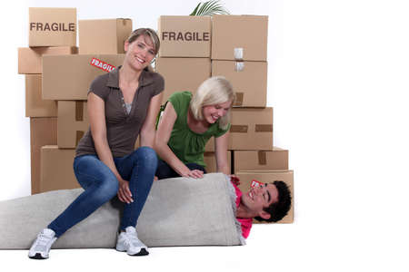 stuck up: Three young people moving Stock Photo