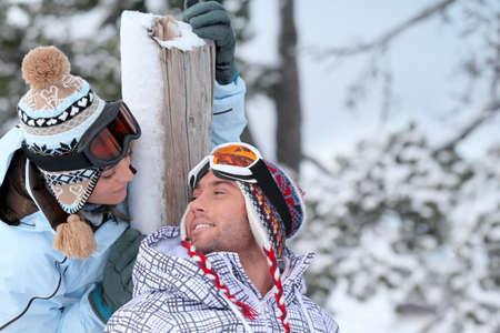 Couple stood in the ski-wear Stock Photo - 13960129