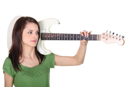 Young woman with a guitar photo