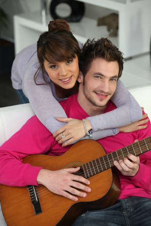 Couple with guitar photo