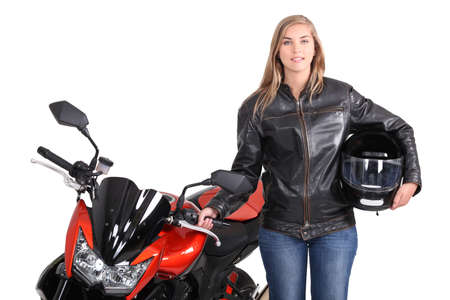 motociclista: Giovane motociclista femminile Archivio Fotografico