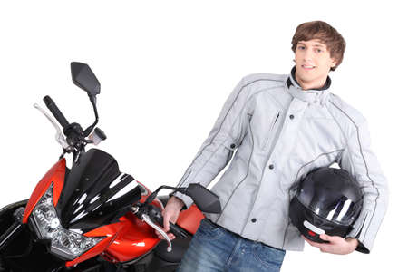 Young person with motorbike photo