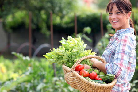baskets: Woman in her vegetable garden Stock Photo