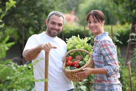 healthy life: Couple picking vegetables