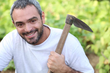 verve: Man with hoe Stock Photo