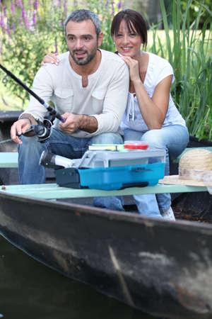 Married couple fishing photo