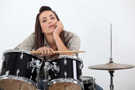 fedup: Woman sat behind drum kit