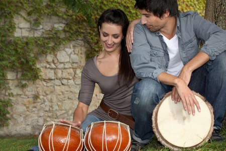 Couple with drums photo