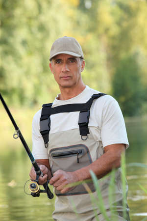 well equipped: Man fishing