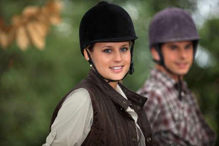horse sleigh: Horseback riders